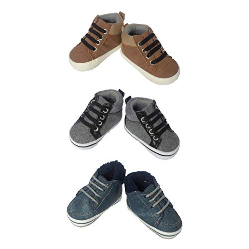 3 Pack Baby Boy Soft Sole Crib Shoes- Baby Boy High Top Boots for Casual