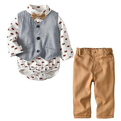 MSSuger Baby Boy Gentleman Suit Cartoon Foxes Bowtie