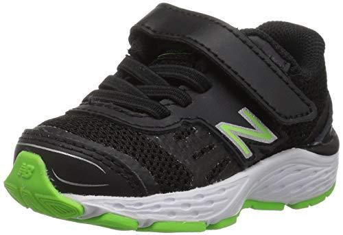 New Balance Boys' Hook and Loop Running Shoe Black