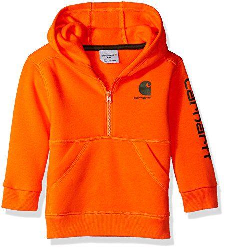 Carhartt Baby Boys Long Sleeve Sweatshirt, Dark Orange 6M