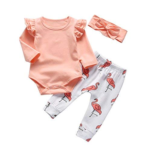 Baby Girl Pink Ruffle Long Sleeve Bodysuit Tops Flamingo Pants