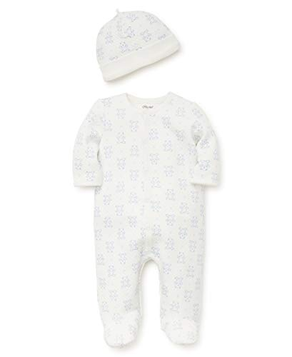 Little Me Baby Boys Footie and Hat, Marshmallow/Silver Lake Blue