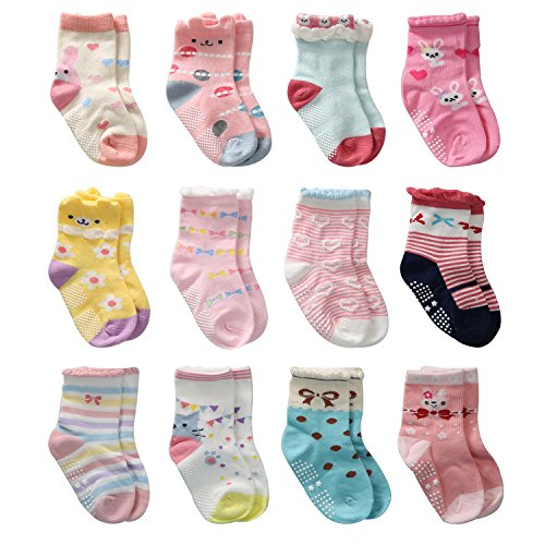 12 Pairs Toddler Girl Non Skid Socks Cute Cotton with Grips