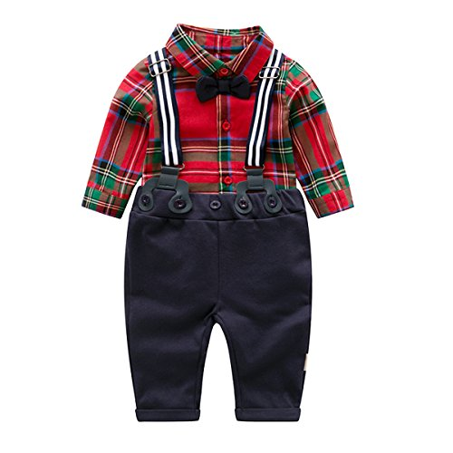 Baby Boy Clothing Sets with Bowtie,Infant Red Plaid
