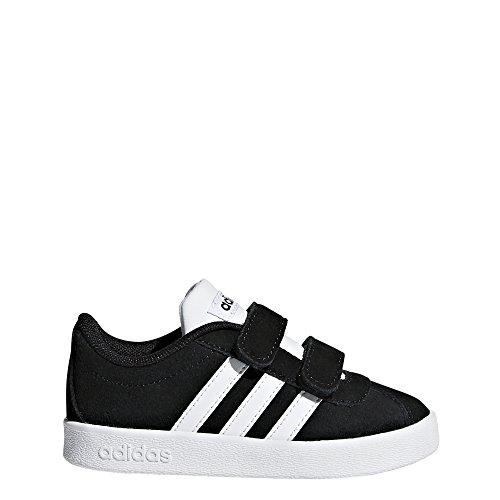 adidas Kids' VL Court 2.0, Core Black/White/White