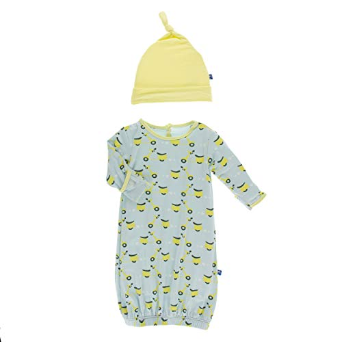 Kickee Pants Little Boys Print Layette Gown & Single Knot Hat Set