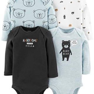 Carter's Baby Boys 4 Pack Bodysuit Set, Baby Bear