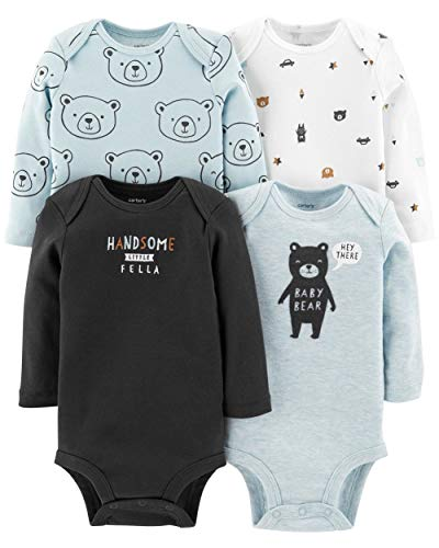 Carter's Baby Boys 4 Pack Bodysuit Set, Baby Bear