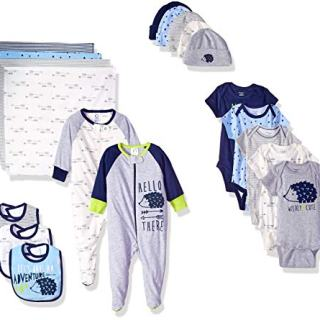 Gerber Baby Boys' 19-Piece Essentials Gift Set, Hedgehog