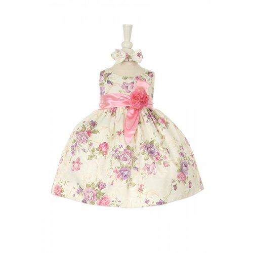 CinderellaCouture-rose printed jacquard baby dress