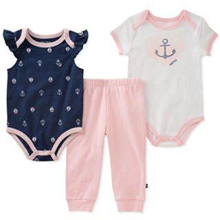 Nautica Baby Girls Bodysuit Pant Set, Pink/Navy 0-3 Months
