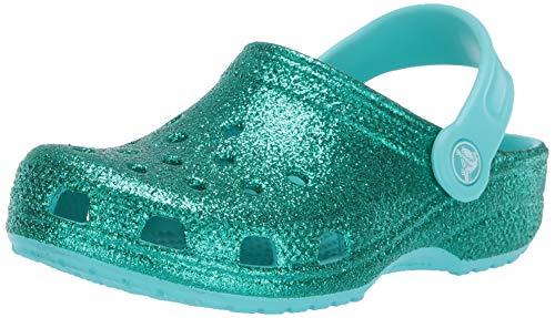 Crocs Kids' Classic Glitter Clog, Pool, 5 M US Toddler