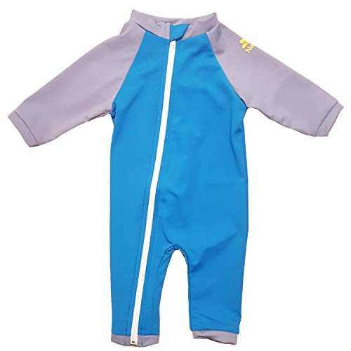 Nozone Full Zip Sun Protective Baby Swimsuit in Smurf/Titanium