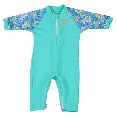 Nozone Fiji Sun Protective Baby Girl Swimsuit in Aquatic/Aloha