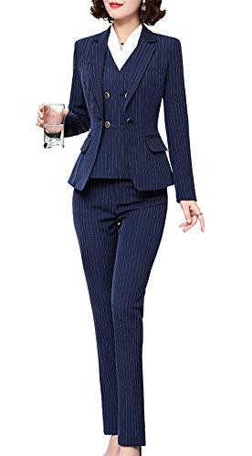 Women's Three Pieces Stripe Blazer Suit Slim Office Lady Business Set
