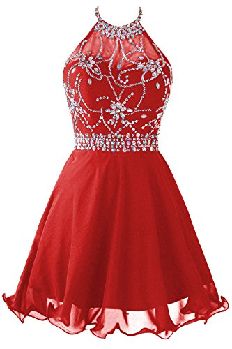 Topdress Women's Short Beaded Prom Dress Halter Homecoming Dress