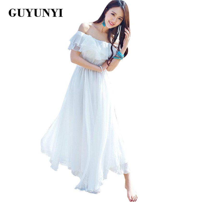 GUYUNYI Boho style long dress women Off shoulder beach