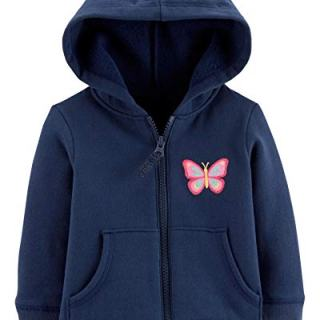 Carter's Baby Girls' Zip-Up Hoodie, Butterfly, Navy, 9 Months