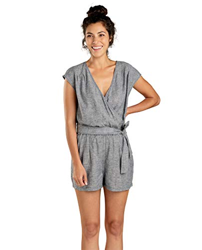 Toad&Co Women's Tara Hemp Romper, Blue Chambray