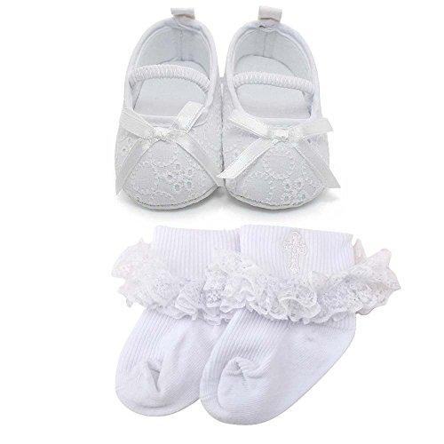 Delebao Baby Girl Infant Satin Mary Jane Baptism Shoes