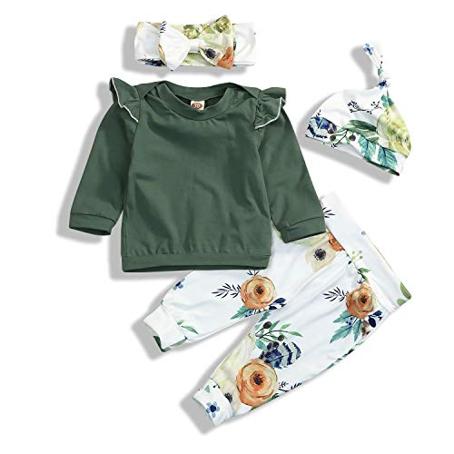 Toddler Baby Girls Spring Outfit Long Sleeve Ruffle Shirts+Floral Pants