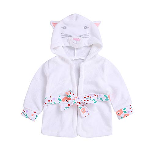 Baby Toddler Girl Coral Fleece Bathrobe Animal Hooded Towel Robe