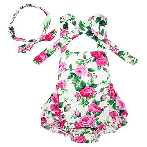 Slowera Baby Girls 2pcs Sets Cotton Ruffles Romper Outfits Clothes