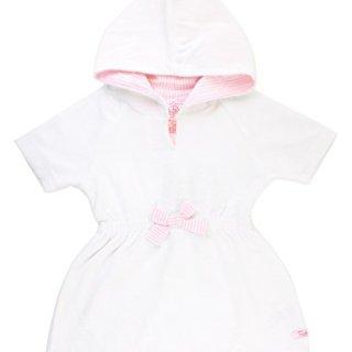 RuffleButts Baby/Toddler Girls White w/Pink Seersucker Terry Hoodie