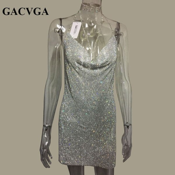 GACVGA 19 Crystal Metal Halter Shining Summer Dress