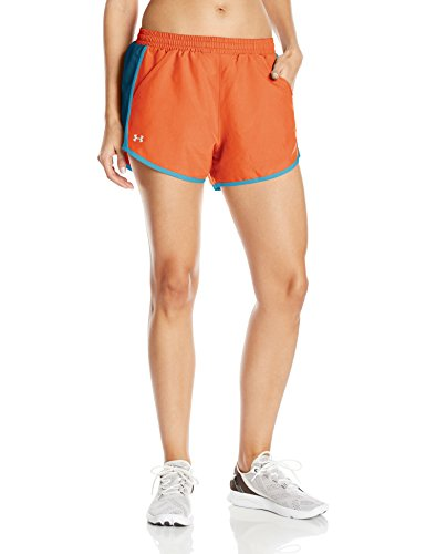 Under Armour Women's Fly-By Shorts, Neon Coral /Reflective