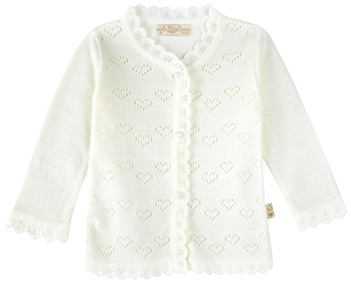 Lilax Baby Girls' Little Hearts Knit Cardigan Sweater 6M Cream