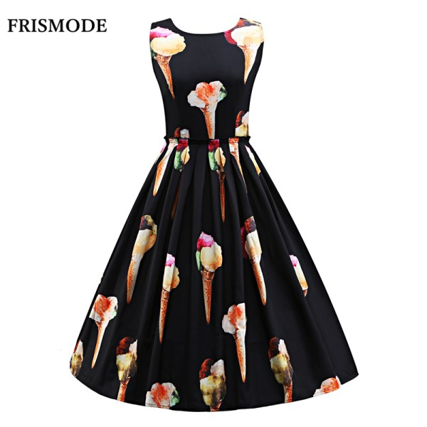 S-3XL Women Cute Ice Cream Print Sleeveless Midi Dress