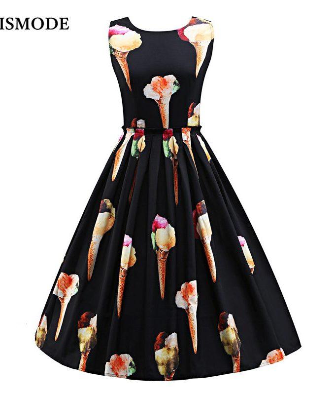 S-3XL Women Cute Ice Cream Print Sleeveless Midi Dress