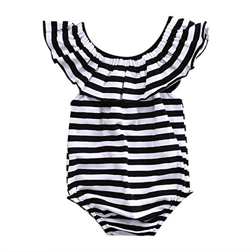 GRNSHTS Baby Girls Black and White Striped Romper Bodysuit