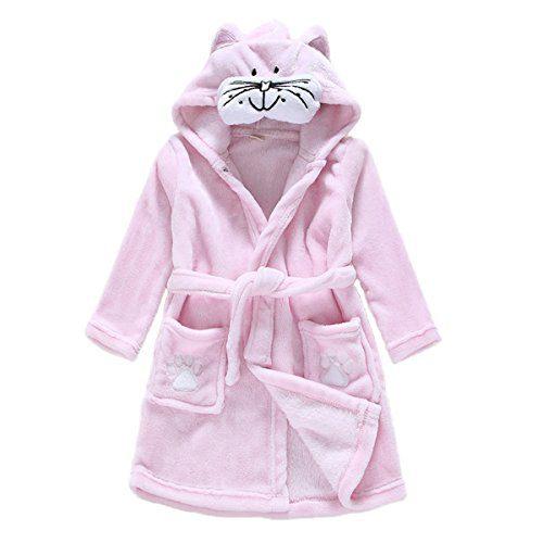 Toddler Baby Boys Girls Cartoon Bathrobe Flannel Robe