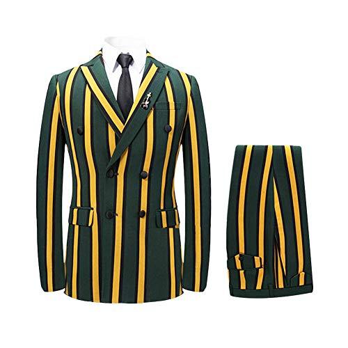 Men's Colored Striped 3 Piece Suit Slim Fit Tuxedo