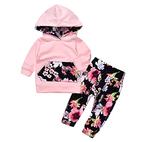 Lovely Baby Girls Outfit Winter Floral Hoodie with Pocket Flower Long Pants Set