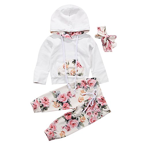 BiggerStore 3Pcs/Set Infant Baby Girl Long Sleeve Hoodie