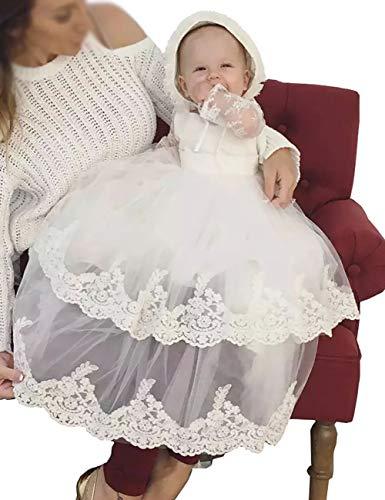 Aorme Ivory Baby-Girls Christening Dresses with Bonnet Christening