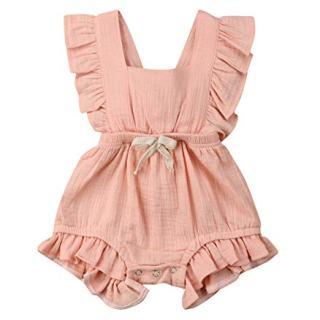 VISGOGO Toddler Baby Girl Ruffled Rompers Sleeveless Cotton Romper Bodysuit