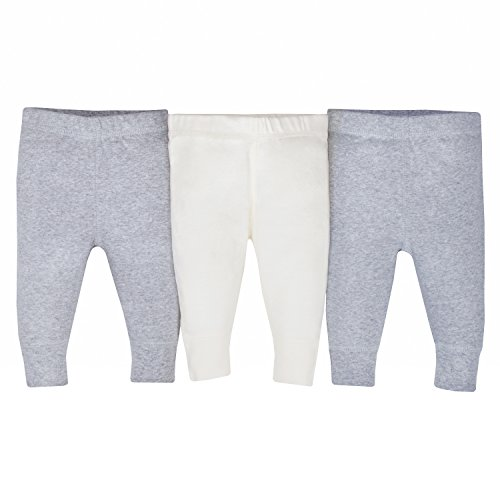 Gerber Baby 3-Pack Organic Pant, Gray/Ivory 3-6 Months