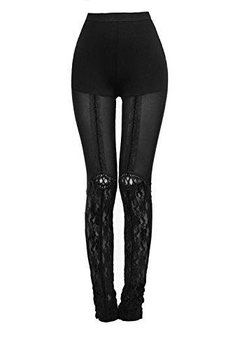 Punk Rave Women's Black Gothic Victorian Sexy Floral Lace Leggings