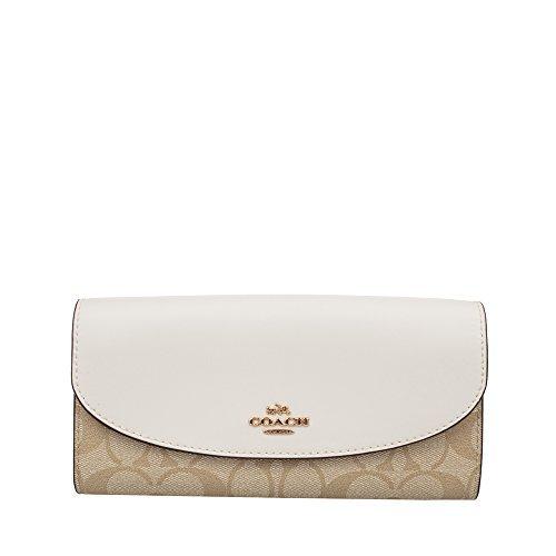 Coach Women's PVC wallet White khaki (White khaki)