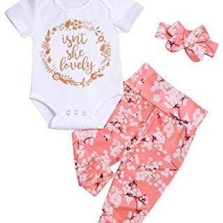 Newborn Baby Girls Isnt She Lovely Short Sleeve Bodysuit