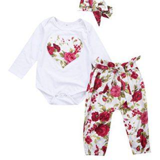Newborn Baby Girls Floral Heart Peach Print Romper Long Pants