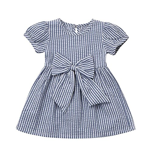 Cenhope Infant Baby Girls Striped Bowknot Short Sleeve Princess Dress