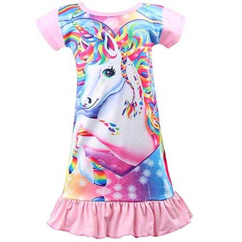 Rswsp Unicorn Printed Toddler Girls Rainbow Nightshirt Casual