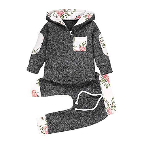 Toddler Infant Baby Boys Girls Stylish Plaid Floral Pocket Hooded Sweatshirt Coat