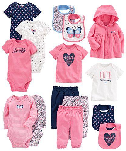 Carter's Baby Girls' 15-Piece Basic Essentials Set, Floral, 3 Months