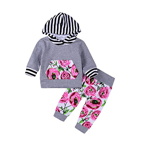 2Pcs Baby Girls Striped Hoodies Pocket T-shirt Top